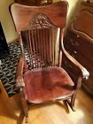 Vintage+Solid+Wood+CARVED+Face+Rocking+Chair+North+Wind+Green+Man