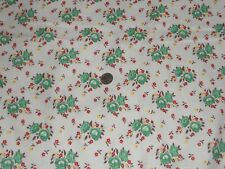 VINTAGE PRETTY GREEN TINY ROSES  FEED SACK COTTON FABRIC UNUSED