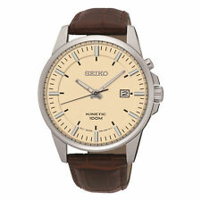 Genuine Leather Strap Brushed Wristwatches with 12-Hour Dial