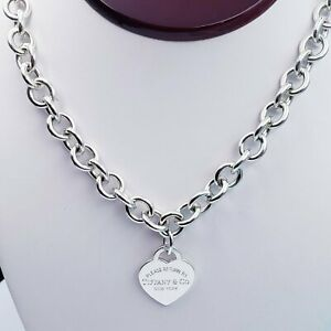 Tiffany & Co. 20 inch   Please Return To . Sterling Silver Heart Charm Necklace