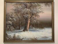 Vintage gilt framed original oil painting Winter Forest Scene
