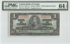 Canada 1937 BC-21c PMG Choice UNC 64 EPQ 1 Dollar (Gordon-Towers)