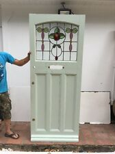 STAINED GLASS FRONT DOOR RECLAIMED PERIOD OLD EDWARDIAN LEADED PINE WOOD SALVAGE