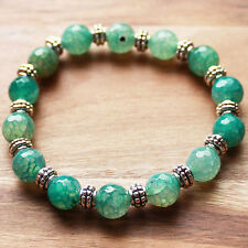 Semi-Precious Green Agate Natural Stone and Silver Bracelet