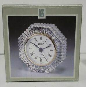 Vintage Madison Avenue Working 24% Lead Crystal Sunburst Desk Clock NIB Style:54