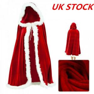 Christmas Women Adult Ladies Mrs Santa Claus Costume Cloak Cape Xmas Fancy Dress