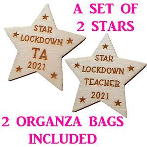 Set of 2 Wooden Teacher TA Star Gift School Nursery Keepsake Card Lockdown