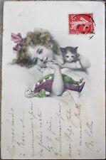 Clown Doll, Cat/Kitten & Little irl 1908 Postcard - M. M. Vienne