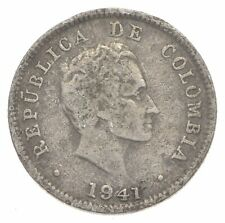 SILVER Roughly Size of Dime 1941 Colombia 10 Centavos World Silver Coin *180