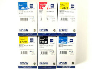Lot 6 EPSON XXL T7891 BK T7892 C T7893 M T7894 Y CARTOUCHES ORIGINAL GENUINE #3