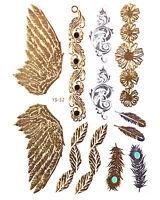 GOLD Flash Tattoos Flügel Schwingen Federn Blumen Ornamente Silber YS-52