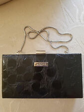 MICHE Hard-case wallet or clutch or purse ~ BLACK embossed patent ~ EUC!