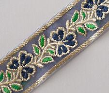 Navy Jacquard Organza Ribbon TrimDark Blue Flowers & Green Leaves Sewing Craft