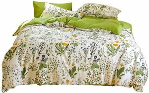 Wellboo Botanical Comforter Sets Queen White and Green Floral Bedding Sets Sage