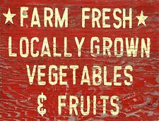 "TIN SIGN ""Farm Fresh Vegetables"" Farm  Art Deco Garage Wall Decor"
