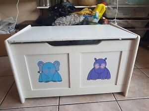 White Wooden Lidded Kids Children Toy Trunk Storage Chest Table Furniture Home D