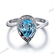 Solid 10k White Gold Pear 8x6mm Swiss Blue Topaz Natural SI/H Diamonds Fine Ring