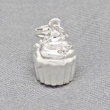 925 Sterling Silber Charm Armband 3D Anhänger Muffin Cupcake Törtchen + Etui