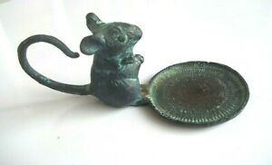 vintage MOUSE Candlestick  Figural Candle Holder votive Brass/Bronze with Patina