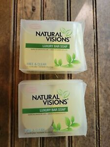 2 Boxes #12 Natural Visions Luxury Bar Soap Glycerin Free & Clear- Box has6 Bars
