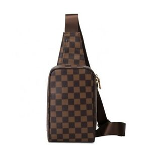 Luxury Checkered Design Chest Bag Shoulder Messenger Crossbody PU Leather Unisex