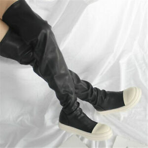 Women Thigh High Fashion Sneaker Boots Over Knee Round Toe Oxfords Punk Casual