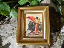 Petit tableau peint sur carton tauromachie 8,5 x 10,2 cm