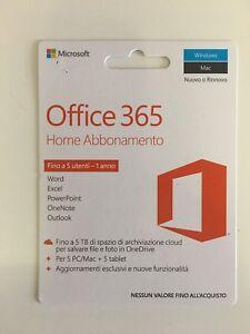Office 365 Home 32/64 Bit Windows or Mac 1 year x5 users scratch card 6GQ-00691