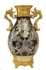 Pedestal & handle black & gold ceramic vase / Gift / Home decorative