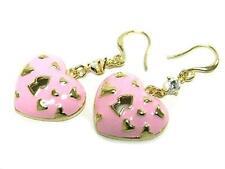 Epoxy Enamel Heart Love EARRING Gold Plated Pink Key Keyhole