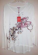 NWT DIDI PrettyDifferent XXL Tunic Top Shirt Jersey Tee CoffeeTea Metallic S M L