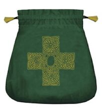 ~ Velvet Celtic Cross Green Bag for Tarot Oracle Runes Wiccan Pagan Witch Altar