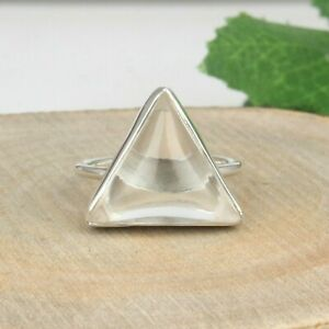 Crystal Quartz Gemstone 925 Sterling Fine Silver Triangle Design Rings