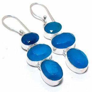"""Blue Sapphire Gemstone 925 Sterling Silver Jewelry Earring 2.4"""""""