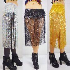 New Belly Dance Hip Scarf Waist Skirt Wrap Tassel Fringe Sequin Dancing Costume
