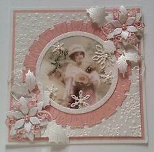 CHRISTMAS CARD - Poinsettias - Vintage Pink Lady -  Die-Cuts - Glitter - Pearls