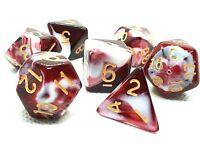 RPG Tabletop DnD Spiel Dice Roleplay Warhammer Würfel Set 7-teilig Lollypop Rot