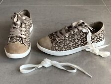 Brand New Womens DKNY Signature Logo Brown Trainers Shoes   Size 4