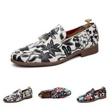 Nightclub Mens Fashion Leather Shoes Pumps Printing Floral Slip on Party Casual