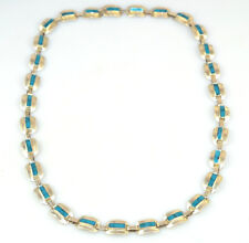 """Rectangular Link 22"""" Long Necklace Vintage Mexican Sterling Silver Turquoise"""