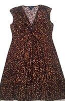 Chaps Brown/Black Sleeveless Pokyester/Spandex Dress XL