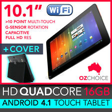 "NEW 16GB 10.1"" ANDROID 4.1 QUAD CORE TOUCH SCREEN TABLET CAPACITIVE + CASE COVER"