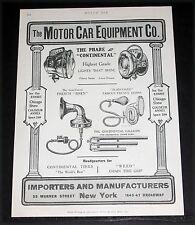 1906 OLD MAGAZINE PRINT AD, MOTOR CAR EQUIP CO. PHARE LIGHTS, FRENCH SIREN, ETC!
