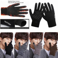 Men's Winter Warm Fleece Lined Thermal Knitted Gloves Fashion Touchscreen Gloves