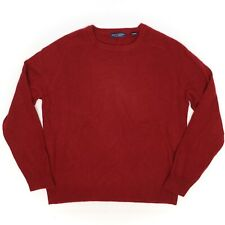 Grant Thomas Mens Cashmere Sweater L Solid Maroon Crew Neck Long Sleeve