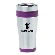Stainless Steel Insulated 16 oz Travel Coffee Mug Catfinated Funny Cat Caffeine