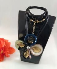 Necklace Big Flower Medallion Multi-Color European Stylish Black Rope Wax