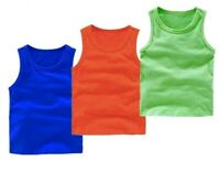 Boys/Girls Unisex Sleeveless Tops 3 Vests Tees Pack Colours 100% Cotton 2 to 10Y