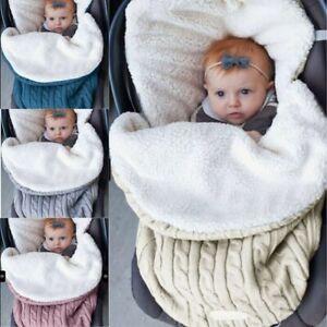 Baby Hooded Swaddle Knit Wrap Warm Blanket Pram Pushchair Stroller Sleeping Bag