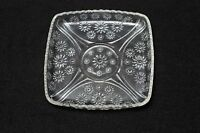 Square Pressed Embossed Glass Clear Sandwich Plate Daisies Scalloped Vintage